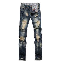 Wholesale Stylish Capris - Wholesale-Men Stylish Ripped Jeans Biker Classic Skinny Slim Straight Denim Jeans