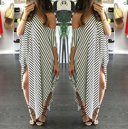 Wholesale Long Summer Womens Cotton Dresses - Womens Round Neck Striped Irregular Long Maxi Dress Kaftan Dress Cover Up