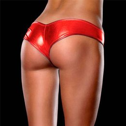Wholesale Micro Cotton G String - Sexy Panties Women Underwear Special Sexy Metallic Briefs Lingerie G-String Micro Thongs 16 Colors