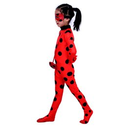 Wholesale Girls Childrens Dresses - Ladybug girl clothes ready cartoon costumes dress up cosplay childrens wig stage role pockets eye mask