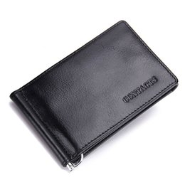 Wholesale Leather Money Bags For Men - 2017 Fashion New Genuine Leather Men Money Clips Black Brown Trifold Open Clamp For Money With Card Holder Money Bag M1083