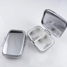 Wholesale Diy Pill Case - DJL Free Shipping 100pcs LOT Rectangle Metal Pill Boxes Organizer DIY Medicine Case Holder 2 Silver