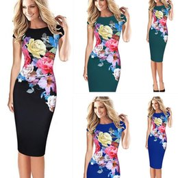Wholesale Plus Size Stretch Pencil Dress - S-5XL Plus Size Women Elegant Short Sleeve Ruched Casual Party Work Fitted Stretch Slim Wiggle Pencil Sheath Bodycon Dress 1737