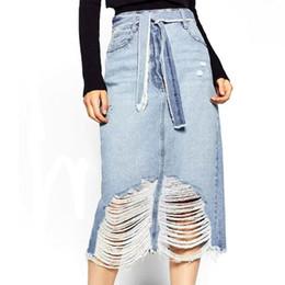 Wholesale Sexy Jeans Skirts - 2016 New Fashion Women Denim Skirt Jeans Short High Waist Mini Skirt Vintage Holes Adult Sexy fashion cowboy skirt C3359