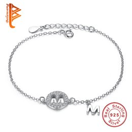 Wholesale Two Chains For Bracelets - BELAWANG Original 925 Sterling Silver Bracelet Crystal Two Pendants With Capital Letter M Charm Bracelet for Mother's Day Fashion Jewelry