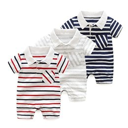 Wholesale Infant Onesies Wholesale - 2018 Baby Jumpsuits Boys Girls Babies Rompers Clothing Summer Short Sleeve Toddler Romper Cotton Striped Infant Onesies Boutique Clothes