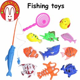 Wholesale Wooden Fishing Game - Lovely Too 12PCS Children's Magnetic Fishing Toy Plastic Fish With Rod And Net Outdoor Indoor Fun Game Baby Bath Toys