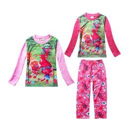 Wholesale Wear Summer Clothes For Winter - fashion cute girl pajamas set lovely anime trolls cartoon sleepwear set for 4-10yrs girls kids children night wear clothes set hot