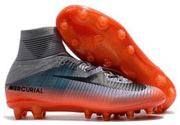 Wholesale High Top Men S Shoes - Best football shoes men's CR7 CR501 boots new Ronaldo cr7 Black soccer boots superflys football boots high tops soccer cleats s