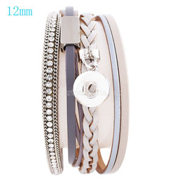 snap buttons 12mm gold Promo Codes - Wholesale- Partnerbeads 20cm snap button real leather bracelets fit 12mm snaps with grey leather Bracelets For Women KS0614-S