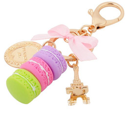 Wholesale Fashion Cakes - Creative Macarons Cake Keychain LADUREE Effiel Tower Ribbon Key Chain Ring Women Handbag Bag Charm Fashion Trinket Wholeasle