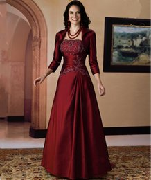 Wholesale Mae Noiva - 2017 Burgundy Mother of the Bride Dresses for Wedding with Jacket Grandmother Groom Mother Dresses Formal Party Gowns vestido mae da noiva