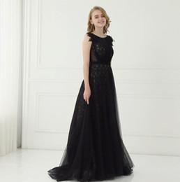 Wholesale Shinny Fabric - Black Elegant Lace Prom Dresses Long Formal Dresses Shinny Fabric Appliques Dresses Party Evening