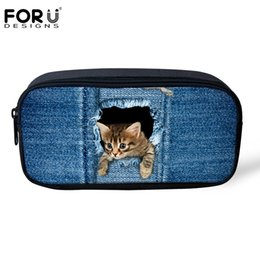 Wholesale Dogs Cosmetic - Wholesale- FORUDESIGNS Pencil Case for Girls Boys Denim 3D Dog Cat Animal Kids Pen Box Women Cosmetic Bag Child School Supplies Stationery