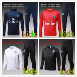 Wholesale White Polyester Top Boys - kids TOP THAI QUALITY new 17-18 Real Madrid kids soccer chandal white football tracksuit 2017-2018 training suit pants Sportswear