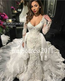 Wholesale Lace Over Satin Wedding Dress - Glamorous Mermaid Lace Wedding Dresses with Over Skirts 2016 Deep V-Neck Illusion Long Sleeve Ruffled Cort train Modern Bridal Gowns Arabic