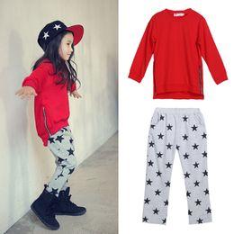 3e1adfc7a068 2pcs Toddler Baby Girls Cotton T-shirt Tops+ star pants Set Kids Clothes  Outfits