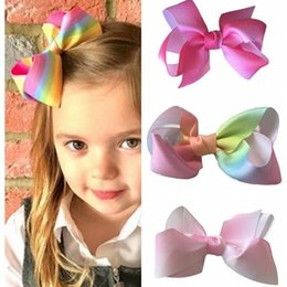 Wholesale Rainbow Bow Tie - 2017 new hot children rainbow color rib twist bow tie hair clip 12cm children hair accessories free shipping