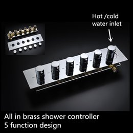 Wholesale Brass Shower Sets - Multi-function shower head controller Brass Chrome hot cold water shower valve shower set valve square diverter valve