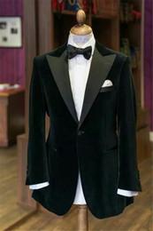 Wholesale Corduroy Tuxedo Suit - Two Piece Velvet Wedding Groomsmen Tuxedos for Groom Wear 2017 Peaked Lapel Custom Made Mens Suits (Jacket + Pants + Tie)