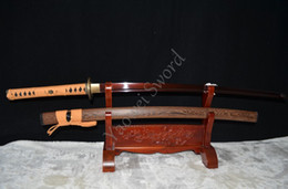 Wholesale Handmade Japanese Katana Swords - Handmade Red Fold Steel Battle Ready Katana Japanese Samurai Sword Full Tang Sharpened Can Cut Bamboo Tree