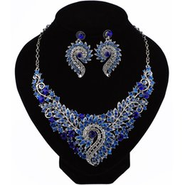 Wholesale African Christmas Decorations - QC26 Fashion Crystal Bridal Jewelry Sets Party Costume Accessories Wedding Necklace Earring Set jewellery Decoration for Brides Women