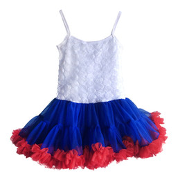 Wholesale Royal Clothes - Kids Dresses For Girls 2016 July 4th Girl Summer Dress White Royal Blue Red Floral Rose Dresses Girls Clothes Tutu Dress