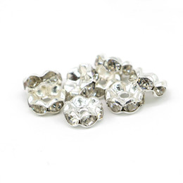 Wholesale Crystal Rhinestone European Spacer Beads - 100Pcs Crystal Wave Edge Rondelle Spacer Bead White Clear Rhinestone Silver Plated 6mm,8mm,10mm,12mm For European Bracelet Making, IA02-01