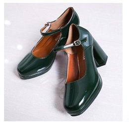 Wholesale Ms Pumps - In the spring of 2017 new documentary shoe buckle square thick with retro waterproof leather shoes joker ms high-heeled shoes