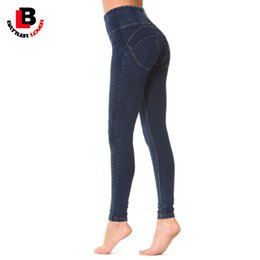 Wholesale Push Pencil - Wholesale- Boyfriend High Waist Jeans Women Sexy Skinny Push Up Pencil Pant Blue Denim Trouser Pantalon Mujer Elastic Pants Jegging Stretch