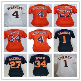 Wholesale Houston Shirts - Fashion 34 Nolan Ryan Women Jerseys Baseball Houston Ladies 1 Carlos Correa 4 George Springer 27 Jose Altuve Girls Shirt White Orange Grey