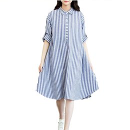 Wholesale Long Comfortable Dresses - Fashion Striped Comfortable Cotton Linen Loose Casual Shirt Dress Plus Size Long Sleeve Women Dresses Gown Clothing CY8