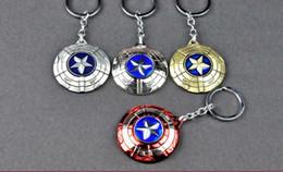Wholesale Alliance Metal - 4 color New spin USA captain shield Car Keychain Metal Avenger alliance Keychain Pendant