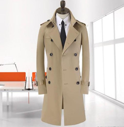 Wholesale Trench Coat Big Man - Wholesale- 2016 New autumn and Winter Fashion Double-breasted Men Trench Coats Long Slim Fashion Men Trench for 4 Color Choose big size 9XL