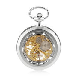 Wholesale Ladies Stainless Steel Skeleton Watch - Classic Silver Stainless Steel Steampunk Gold Skeleton Mens Lady Hand-winding mechanical pocket watch mechanical fob watch 17 Crystals
