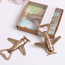 "Wholesale Wholesale Giveaways - wedding favor gift and giveaways for guest -- ""Let the Adventure Begin"" Airplane Bottle Opener party souvenir 100pcs lot"