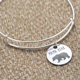 Pulseras para dia de san valentin online-Mamá oso brazalete pulsera brazaletes plata tono día de la madre regalo de navidad regalo