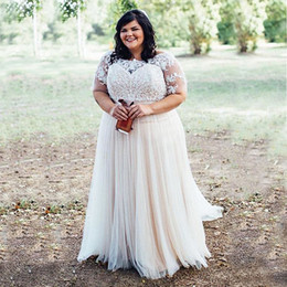 Wholesale Country Girl Sexy - Stunning 2017 Curvy Girl Plus Size Wedding Dresses Country Beach Wedding Dress Sheer Bateau Neck Illusion Short Sleeves Lace Appliques