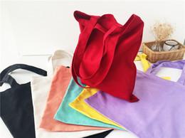 Wholesale Candy Canvas Shoes Women - 100Pcs lot 2017 New Arrival Candy blank DIY Women Shopping Bag cotton Canvas Drawstring Bag storage bag shoe case Outdoor