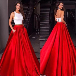Wholesale Wholesale Pink Evening Gowns - 2017 Fashion Two Piece White Red Long Prom Dresses with Pockets Sexy Halter Open Back Satin Floor Length Formal Evening Party Gowns