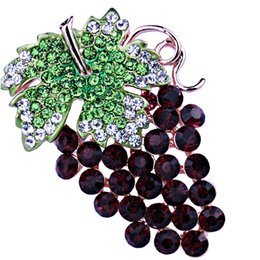 Wholesale Crystal Grape Wholesale - Wholesale- Unique design purple grapes scarf brooches pins with crystal rhinestones Fashion brooch for women gift