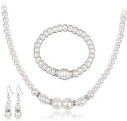 Wholesale Elegant Pearl Sets - New Arrival Lady Elegant White Pearls Necklace Bracelet Earrings set Choker Wristband Ear Studs Jewelry Gift