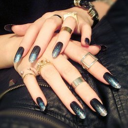 Wholesale Elegant Nail Tips - Wholesale-24PCS set Elegant glitter long section finished false nails,Full Nail Tips patch, Salon art tools Free shipping