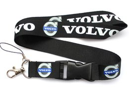 Wholesale volvo c - Wholesale 10 pcs Popular VOLVO car logo Mobile phone Lanyard Removable Key Chains Badge Pendant Party Gift Favors C-043