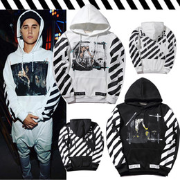 Wholesale Baseball Standards - OFF OW WHITE Tide Brand Religion Angel Stripe Hoodie Men and Women Hooded Baseball Sweater Jacket Loose Sweatshirt Tops
