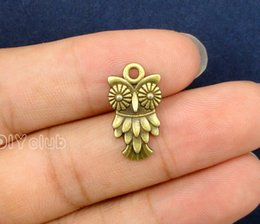 Wholesale Owl Pendant Silver Bronze - 100pcs-Antique Bronze Tibetan Silver Tone 2 Sided Owl Charms Pendant Best Gifts For Lovely Connector DIY Jewelry Making