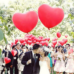 Wholesale Helium Balloons Big - 36 inches Big Heart giant balloons wedding decorations Helium Inflable Large love latex balloon Valentine day gift Party supply