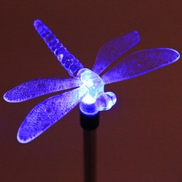 Wholesale Bird Lamps - Wholesale- Multicolor LED Solar Light Outdoor Dragonfly Butterfly Bird Lawn Lamps Solar LED Path Light Outdoor Garden Lawn Landscape Lamp