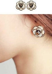 Wholesale Camellia Flower Earrings - 2017 New arrival Fashion temperament Camellia Flower earring Korean small fragrant lady five Flower Earrings