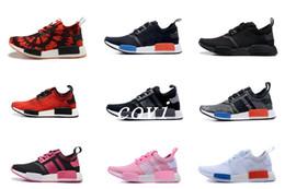 Wholesale Running Kicks - 2017 NMD R1 OG Primeknit Tri Color Runner Triple Black White Boost Women Men Running Shoes Nice Kicks Circa Knit Classic Casual Sneakers